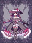 1girl bangs black_bow black_dress black_footwear black_gloves black_hair black_hat black_legwear bow breasts cleavage closed_mouth dress elbow_gloves eyebrows_visible_through_hair flower frilled_legwear frills full_body garter_straps gloves gothic_lolita hair_between_eyes hair_ribbon hat hat_flower kerberos_blade large_breasts lolita_fashion long_hair red_bow red_eyes red_ribbon revealing_clothes ribbon ringlets shoes showgirl_skirt solo standing thigh-highs twintails very_long_hair yuyumatsu