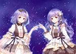 aura blush bow brown_bow brown_eyes dress frilled_dress frills hair_ornament long_hair looking_at_viewer night night_sky original parted_lips puffy_sleeves purple_hair short_hair sky standing striped striped_bow yuu_li_(glass)