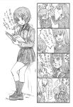 !? ... 4koma a bangs bbb_(friskuser) blunt_bangs calligraphy_brush clenched_teeth comic commentary_request crying crying_with_eyes_open formal girls_und_panzer greyscale hidden_eyes highres hug itsumi_erika jacket kuromorimine_military_uniform leaning_on_object legs_crossed long_hair long_sleeves monochrome nishizumi_maho nishizumi_miho nishizumi_shiho notebook open_mouth paintbrush pleated_skirt shoes skirt slapping snot spock spoken_ellipsis spoken_interrobang suit tears teeth thought_bubble translation_request unamused