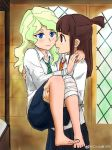2girls barefoot blonde_hair blue_eyes brown_hair carrying commentary_request diana_cavendish hair_ribbon harry_potter hogwarts_school_uniform kagari_atsuko little_witch_academia multiple_girls princess_carry red_eyes ribbon yuri