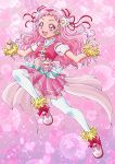 1girl :d aikawa_yousuke bow clenched_hand cure_yell double_bun earrings flower full_body hair_flower hair_ornament hair_ribbon heart hugtto!_precure jewelry layered_skirt light_particles long_hair looking_at_viewer nono_hana open_mouth pink pink_background pink_bow pink_eyes pink_footwear pink_hair pink_shirt pink_skirt pleated_skirt precure red_ribbon ribbon shirt shoes skirt sleeveless sleeveless_shirt smile solo sparkle thigh-highs white_legwear wrist_cuffs zettai_ryouiki