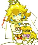 1girl blonde_hair blue_eyes bowser breasts brown_hair dress facial_hair gloves hat jewelry long_hair mario mario_(series) mustache princess_peach same_(g_shark) solo super_mario_bros. super_mario_odyssey toy veil wedding_dress white_gloves