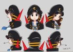 1girl bangs black_cape blue_sailor_collar blunt_bangs brown_eyes brown_hair cape closed_mouth commentary_request dated frown grey_background hat highres kill_la_kill leaf looking_at_viewer looking_to_the_side mankanshoku_mako mouth_hold multiple_views official_art open_mouth peaked_cap sailor_collar school_uniform serafuku shirt short_hair simple_background sushio white_shirt