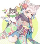 1girl animal animal_ears braid checkered dog flower fox_ears fox_tail french_braid gloves green_eyes hagoita hair_flower hair_ornament happy highres japanese_clothes kimono kuroyuki looking_to_the_side new_year obi open_mouth original paddle sash scarf smile solo tail white_hair