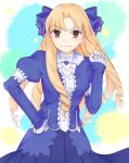 >:) 1girl arm_garter bangs blonde_hair blue_bow blue_dress bow brown_eyes center_frills closed_mouth cowboy_shot dress drill_hair eyebrows_visible_through_hair fate/stay_night fate_(series) frills gloves hair_bow hand_on_hip long_hair looking_at_viewer luviagelita_edelfelt matitoumi multicolored multicolored_background parted_bangs ringlets smug solo standing v-shaped_eyebrows very_long_hair white_gloves