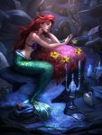 1girl ariel_(disney) bikini_top bottle candelabra cave chin_rest clock disney flower fork jar long_hair mermaid monster_girl pipe plate redhead rope_ladder shell shell_bikini shricka sitting solo the_little_mermaid treasure_chest wavy_hair