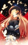 1girl abigail_williams_(fate/grand_order) bangs black_bow black_dress black_hat blonde_hair bloomers blue_eyes blush bow butterfly commentary_request covered_mouth dress fate/grand_order fate_(series) forehead hair_bow hat key lim_jaejin long_hair long_sleeves looking_at_viewer object_hug orange_bow parted_bangs sleeves_past_wrists solo stuffed_animal stuffed_toy suction_cups teddy_bear tentacle underwear very_long_hair white_bloomers