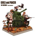 3girls :d absurdres aiming alisa_(girls_und_panzer) bandanna bird black_shorts blonde_hair boots bra breasts brown_eyes brown_hair commentary_request copyright_name cowboy_boots cowboy_hat cross_section eagle faux_figurine finger_on_trigger frown girls_und_panzer gloves grass green_eyes grin ground_vehicle gun hand_on_hip handgun hat hat_around_neck highres holding holding_gun holding_weapon hone_(honehone083) jewelry kay_(girls_und_panzer) large_breasts leaning_on_object long_hair military military_vehicle motor_vehicle multiple_girls naomi_(girls_und_panzer) navel necklace open_mouth ponytail red_bra red_gloves revolver rifle rock scorpion short_hair short_shorts shorts sign silver_hair skull smile sniper_rifle standing standing_on_one_leg striped striped_legwear tank thigh-highs underwear weapon yellow_gloves