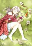 1girl animal bird clenched_hand derivative_work elbow_gloves fire_emblem fire_emblem:_akatsuki_no_megami gloves grass long_hair looking_at_viewer lying micaiah nuts0415 on_side outdoors silver_hair solo