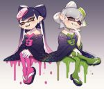 +_+ 2girls aori_(splatoon) commentary_request cousins detached_collar domino_mask dress fangs food food_on_head green_legwear highres hotaru_(splatoon) japanese_clothes kimono mask mole mole_under_eye multiple_girls object_on_head pointy_ears puchiman sandals splatoon squid strapless strapless_dress sushi tentacle_hair