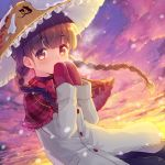 1girl ajirogasa bangs blunt_bangs blush bow braid breath brown_hair clothes_writing clouds cloudy_sky cold covering_mouth dutch_angle evening eyebrows_visible_through_hair frilled_capelet frilled_hat frills gradient_sky grey_coat hat long_hair long_sleeves looking_at_viewer minamura_haruki mittens outdoors own_hands_together plaid red_bow red_capelet red_eyes red_mittens sky snow snowing solo sunlight sunset tareme touhou twin_braids upper_body yatadera_narumi