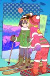 2girls beanie black_hair blush brown_hair cheek_kiss closed_eyes full_moon green_eyes hat highres kiss kuroki_tomoko lipstick_mark mokofann moon mountain multiple_girls open_mouth red_moon ski_gear ski_goggles skis snow_boots snowboard ucchi_(watamote) watashi_ga_motenai_no_wa_dou_kangaetemo_omaera_ga_warui! yuri