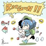 >:) 1girl :q backpack bag blue_eyes blue_hair blush_stickers chibi commentary_request dated directional_arrow dual_wielding energy_gun english full_body hair_between_eyes hair_bobbles hair_ornament kawashiro_nitori key light_bulb long_sleeves puzzle_piece ray_gun running short_hair short_twintails simple_background solo tongue tongue_out toothbrush touhou tsukigi twintails ufo weapon white_background wrench