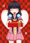 1girl black_hair blend_s checkered checkered_background closed_eyes gift hair_bobbles hair_ornament happy heart holding long_hair novappoido open_mouth pixiv present sakuranomiya_maika school_uniform smile solo valentine