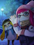 2girls absurdres blonde_hair domino_mask fangs grey_eyes highres inkling jacket long_hair mask multiple_girls pants pointy_ears puchiman redhead scarf single_vertical_stripe smile splatoon squid tentacle_hair track_pants waving