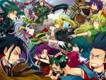 asellus_(saga_frontier) blue_(saga_frontier) blue_eyes breasts commentary_request em_crazy emilia_(saga_frontier) everyone gloves long_hair lute_(saga_frontier) mecha multiple_boys multiple_girls orlouge red_(saga_frontier) riki_(saga) rouge_(saga_frontier) saga saga_frontier short_hair t260g_(saga)