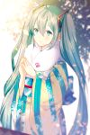 1girl ahoge green_eyes green_hair hatsune_miku japanese_clothes kimono long_hair minami_ei solo steepled_fingers twintails very_long_hair vocaloid