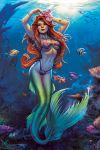 1girl ariel_(disney) arms_up bead_bracelet bead_necklace beads bikini blue_eyes bracelet breasts clownfish coral disney elias_chatzoudis fish flower full_body hair_flower hair_ornament highres jewelry lips lipstick long_hair looking_at_viewer makeup mascara medium_breasts mermaid monster_girl necklace ocean red_lipstick redhead scales shell shell_bikini signature solo strapless swimsuit the_little_mermaid transformation underwater