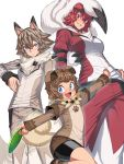 1boy 1girl androgynous animal_ears bandaid bandaid_on_knee belt black_hair blue_eyes brown_hair brown_pants brown_shirt dog_ears fangs frisbee grin layered_sleeves lycanroc multicolored_hair open_mouth outstretched_arms pants paw_print personification pokemon pokemon_(game) pokemon_sm red_clothes red_eyes red_pants redhead rockruff sharp_teeth shirt short_hair smile space_jin teeth white_background white_hair wolf_ears