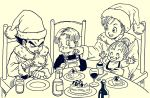 2boys 2girls arms_up baby black_eyes black_hair black_shirt bra_(dragon_ball) brother_and_sister bulma cake chair closed_eyes dragon_ball eating family father_and_son food fork frown happy hat highres lee_(dragon_garou) long_sleeves looking_at_another monochrome mother_and_son multiple_boys multiple_girls open_mouth overalls plate santa_hat serious shirt short_hair siblings sitting trunks_(dragon_ball) vegeta