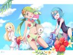 3girls ball beachball bikini blonde_hair blue_hair bounsweet braid closed_eyes clouds day flower french_braid goggles goggles_on_head green_eyes green_hair hibiscus lillie_(pokemon) long_hair magikarp mao_(pokemon) mei_(maysroom) midriff multiple_girls navel one-piece_swimsuit one_eye_closed open_mouth outdoors partially_submerged plumeria pokemon pokemon_(anime) pokemon_(creature) pokemon_sm_(anime) popplio rowlet sea_star short_hair sky staryu suiren_(pokemon) swimsuit trial_captain twintails water white_swimsuit