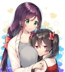 2girls black_hair breasts green_eyes itohana large_breasts long_hair love_live! low_twintails multiple_girls purple_hair red_eyes toujou_nozomi twintails yazawa_nico