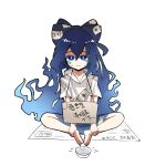 1girl absurdres antinomy_of_common_flowers begging blue_eyes blue_hair cup frown hair_ribbon hh highres long_hair looking_at_viewer newspaper poverty ribbon seiza shion sitting solo talismans tears touhou translation_request very_long_hair yorigami_shion