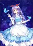1girl apron blue_butterfly blue_dress brown_eyes butterfly_on_hand dress hairband hand_up long_hair maid_apron night night_sky original purple_hair red_ribbon ribbon sky standing very_long_hair wavy_hair yuu_li_(glass)