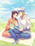 1girl 2boys baby black_hair blonde_hair blue_eyes brown_eyes child day dyresbroom family george_joestar_ii_(jojolion) hat higashikata_rina hood hoodie husband_and_wife japanese_clothes johnny_joestar jojo_no_kimyou_na_bouken jojolion kimono multiple_boys running sailor_hat sitting sky star star_print steel_ball