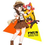 1girl 2017 bag bangs blush bow bowtie bracelet braid brown_footwear brown_hair brown_skirt buttons cat copyright_name dated english eyebrows eyelashes facing_away handbag hat jewelry kurosaki_nekosuzu legs_apart litten loafers long_hair looking_at_viewer miniskirt mizuki_(pokemon_ultra_sm) multicolored multicolored_clothes multicolored_shirt orange_eyes outstretched_arms pleated_skirt pokemon pokemon_(creature) pokemon_(game) pokemon_ultra_sm puffy_short_sleeves puffy_sleeves rotom rotom_dex shirt shoes short_sleeves simple_background skirt smile socks solo standing swept_bangs tareme text timestamp triangle trilby twin_braids white_background white_bow white_legwear white_neckwear z-ring