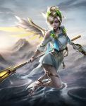 1girl alternate_costume backlighting bad_anatomy bad_leg barefoot_sandals blonde_hair brandon_dunn breasts cleavage closed_eyes clouds cloudy_sky day dress dual_wielding feathered_wings flying full_body gun handgun head_wreath high_ponytail highres holding holding_gun holding_staff holding_weapon laurel_crown looking_down mechanical_wings medium_breasts mercy_(overwatch) mountain nose outdoors overwatch pelvic_curtain pink_lips pistol short_hair short_sleeves sky smile solo spread_wings staff toga weapon white_dress winged_victory_mercy wings