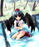 1girl black_hair black_wings blush bottomless dress_shirt geta hat no_pants panties red_eyes shameimaru_aya shin_(new) shirt short_hair solo striped striped_panties tengu-geta tokin_hat touhou underwear wet_clothes wet_shirt wings