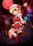 blush bonnet bow flandre_scarlet frills grin hat inaba_saito looking_back moon red_eyes red_moon short_hair skirt smile socks touhou wings