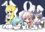 bad_id blonde_hair blue_hair bunny bunny_ears eyepatch kamiture pink_hair purple_hair rabbit rabbit_ears red_eyes siesta00 siesta410 siesta45 siesta556 siesta_sisters thighhighs umineko_no_naku_koro_ni