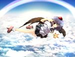 bad_id black_wings cloud clouds fan flying geta hat rainbow red_eyes rika-tan_(artist) rikako shameimaru_aya skirt sky tengu-geta tokin_hat touhou wings