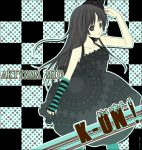 "1girl akiyama_mio asymmetrical_clothes bangs black_eyes black_hair blue_legwear blunt_bangs checkered don't_say_""lazy"" don't_say_lazy dress hat hime_cut k-on! long_hair pantyhose senri_(nazerine) senri_(pixiv196380) single_glove solo striped"
