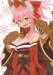 1girl @_@ absurdres animal_ears bell bell_collar blush breasts cat_paws cleavage collar collarbone e_draw_paint fangs fate/grand_order fate_(series) fox_ears fox_tail gloves hair_ribbon hand_on_own_chest highres japanese_clothes jingle_bell kimono large_breasts long_hair looking_at_viewer open_mouth paw_gloves paws pink_hair ponytail red_kimono ribbon solo tail tamamo_(fate)_(all) tamamo_cat_(fate) yellow_eyes