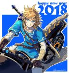 1boy 2018 bicycle blonde_hair blue_eyes gloves ground_vehicle link looking_at_viewer male_focus pointy_ears ponytail smile solo spoilers tak_(karasuki) the_legend_of_zelda the_legend_of_zelda:_breath_of_the_wild