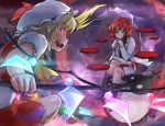 2girls blonde_hair commentary_request drum drumsticks ebizome fangs flandre_scarlet full_moon gem glowing glowing_eyes hat hat_ribbon holding horikawa_raiko instrument laevatein legs_crossed lightning long_sleeves looking_at_another mob_cap moon multiple_girls open_mouth puffy_short_sleeves puffy_sleeves red_eyes red_moon red_ribbon ribbon short_hair short_sleeves side_ponytail sitting smile taiko_drum touhou white_hat