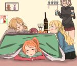 5girls alcohol aquila_(kantai_collection) black_sweater blonde_hair blue_sweater blush bottle brown_hair closed_eyes closed_mouth cup drinking_glass food fruit glass glasses grey_sweater highres kantai_collection kotatsu libeccio_(kantai_collection) littorio_(kantai_collection) long_hair mandarin_orange miniskirt multiple_girls orange_hair photo_(object) pillow red_skirt red_sweater redhead remodel_(kantai_collection) rensouhou-chan roma_(kantai_collection) sitting skirt slipping sweater table tama_(seiga46239239) twintails wine wine_bottle wine_glass zara_(kantai_collection)