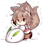 1girl ahoge animal_ears bangs brown_hair chibi closed_mouth eyebrows_visible_through_hair fox_ears fox_girl fox_tail fur-trimmed_sleeves fur_trim hair_between_eyes high_ponytail holding long_sleeves original pink_coat ponytail red_eyes snow snow_bunny snowing standing tail tail_wagging wide_sleeves yuuji_(yukimimi)
