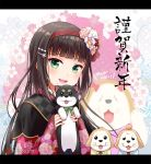 1girl :d animal bangs black_hair bow capelet dog floral_print flower green_eyes hair_bow hair_flower hair_ornament hairpin happy_new_year hirako holding holding_animal holding_dog japanese_clothes kimono kurosawa_dia letterboxed long_hair looking_at_viewer love_live! love_live!_sunshine!! mole mole_under_mouth new_year open_mouth puppy shiitake_(love_live!_sunshine!!) smile solo spoilers twitter_username wide_sleeves