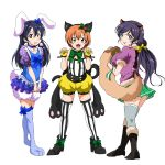 3girls absurdres animal_costume animal_ears bangs blue_hair bunny_costume cat_costume cat_ears closed_mouth hair_between_eyes hair_ornament highres hoshizora_rin lily_white_(love_live!) long_hair looking_at_viewer love_live! love_live!_school_idol_festival love_live!_school_idol_project multiple_girls open_mouth orange_hair paw_pose purple_hair rabbit_ears ribbon shogo_(4274732) short_hair simple_background smile sonoda_umi standing striped striped_legwear tanuki_costume thigh-highs toujou_nozomi twintails wavy_mouth white_background yellow_eyes