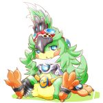 1girl bird claws crop_top detached_sleeves feather_hair feathers flat_chest full_body fur_collar gem goggles goggles_on_head ibuki_(xenoblade) kinakomochi_(kazuna922) long_hair lowres monster_girl open_mouth simple_background solo talons triangle_mouth white_background xenoblade xenoblade_2