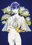 alternate_costume androgynous artist_request blue_background blue_eyes blue_hair flower golden_arms heterochromia highres houseki_no_kuni looking_at_viewer lotus phosphophyllite phosphophyllite_(ll) short_hair solo sparkle spoilers white_eyes