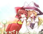 2girls ^_^ ascot back-to-back blonde_hair blush bow braid breasts brown_eyes brown_hair closed_eyes collared_shirt commentary couple dandelion detached_sleeves dress flower hair_bow hair_tubes hakurei_reimu happy jewelry juliet_sleeves kirisame_marisa large_bow long_skirt long_sleeves medium_breasts mochi547 multiple_girls puffy_sleeves ring shared_hat shirt side-by-side side_braid single_braid sitting skirt smile touhou wedding_ring wide_sleeves wife_and_wife yellow_neckwear yuri