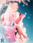 1girl anklet artist_name bare_shoulders barefoot butterfly_on_nose cherry_blossoms closed_eyes closed_mouth commentary day dutch_angle fox full_body jewelry long_hair original outdoors petals ross_tran signature sitting tree very_long_hair