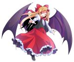 1girl alphes_(style) bangs bat_wings black_footwear black_vest blonde_hair bow bowtie dairi elis_(touhou) eyebrows eyebrows_visible_through_hair facial_mark facing_away flat_chest flower frilled_skirt frills full_body hair_between_eyes hair_bow hair_flower hair_intakes hair_ornament loafers long_hair long_skirt long_sleeves looking_at_viewer open_clothes open_vest parody pointy_ears puffy_long_sleeves puffy_sleeves red_bow red_neckwear red_skirt shirt shoes simple_background skirt solo star style_parody touhou touhou_(pc-98) transparent_background tsurime vest violet_eyes wand white_shirt wings