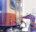 1girl brown_hair daito from_behind ground_vehicle japanese_clothes kimono oriental_umbrella original outdoors short_hair snowing solo train umbrella