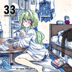 1girl :t ahoge aki_minoriko alternate_hairstyle arm_rest bed blush book can casual cellphone character_doll chopsticks clock commentary_request cover cover_page digital_clock eating english green_eyes green_hair highres holding_chopsticks kitchen kochiya_sanae looking_at_viewer low_ponytail phone sitting smartphone solo table takana_shinno touhou yasaka_kanako